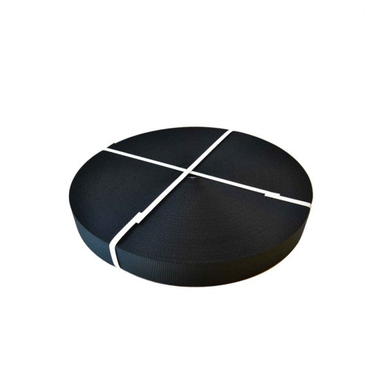 Black Polyester Webbing 100m Roll (SC88 Black)