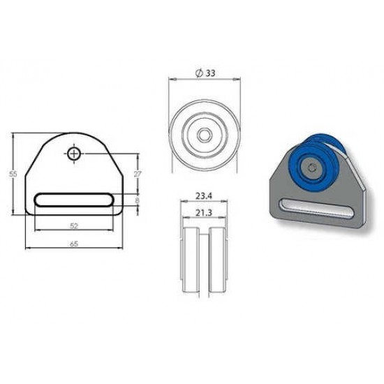 Sew On Curtain Roller W24mm x D33mm (SC3)