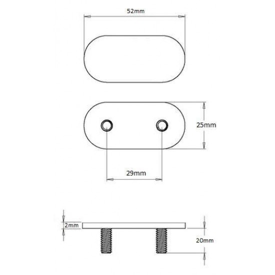 Steel Twinfix Assembly 20mm (with nuts and washer) FIT34